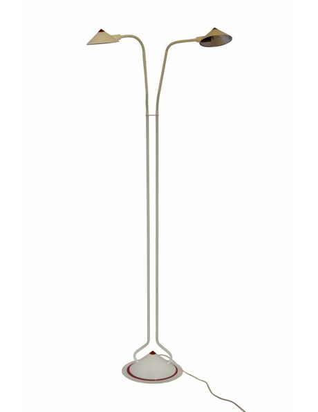Floor lamp, slim design, 2 light points, white metal with red accents, halogen