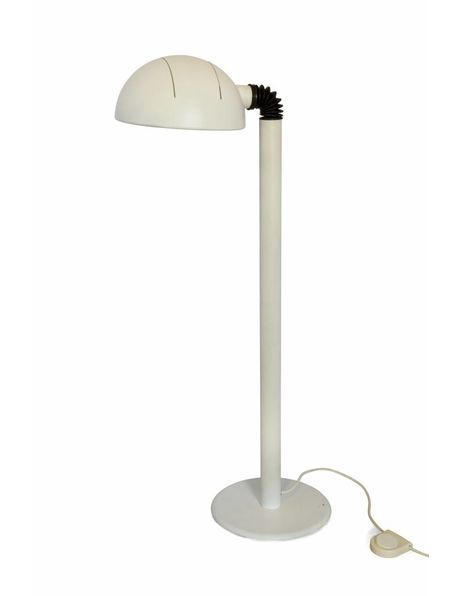 Floor lamp, completely matt white metal, robust design, shade can be adjusted