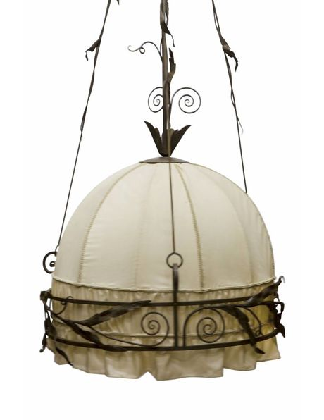 Classic hanging lamp, 'fer forge' with fabric, 1930s