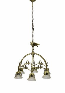 Large Pendant Lamp, Bow with Bird, 1930s
