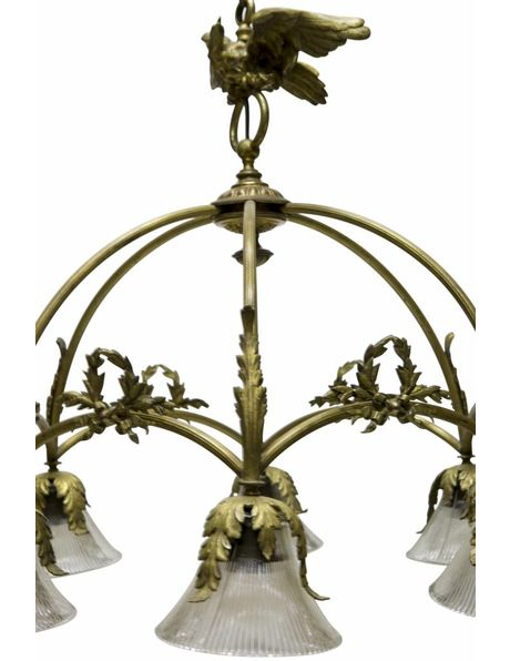 Large 1930s hanging lamp, copper bow with bird
