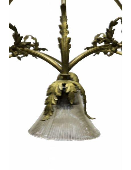 Grote jaren 30 hanglamp, koperen boog met vogel