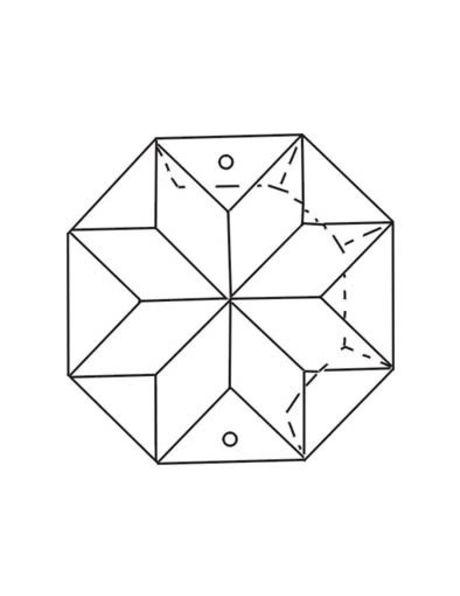 Kroonluchter kraal, 8-kantige kraal met ster, zakje van 5 st