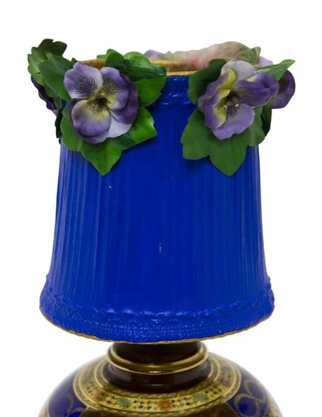 Beautiful brocante (flea) table lamp with blue shade, 1950s