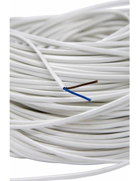 Electrical cord for lamps, flat model, white, 2x0.75