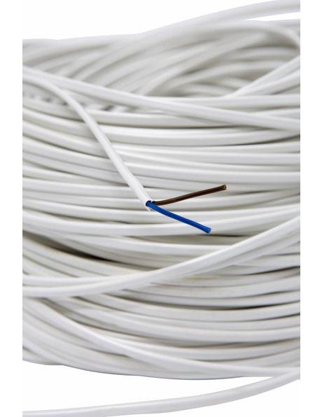 Lampsnoer, wit plat, 2x 0.75