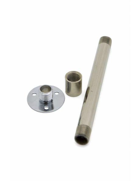 Chroom plaat nippel, M10x1 draadeind met 3 bevestigingsopeningen