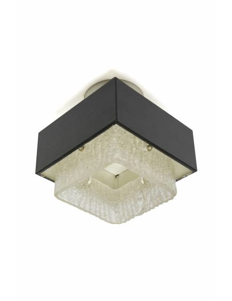 recessed ceiling lamp with a square metal shade, 1960s