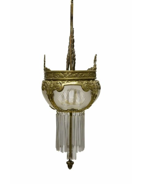 Classic hanging lamp, copper and cut glass