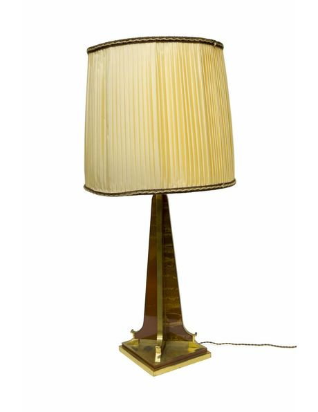 Table lamp fabric shade on synthetics base, 1940s