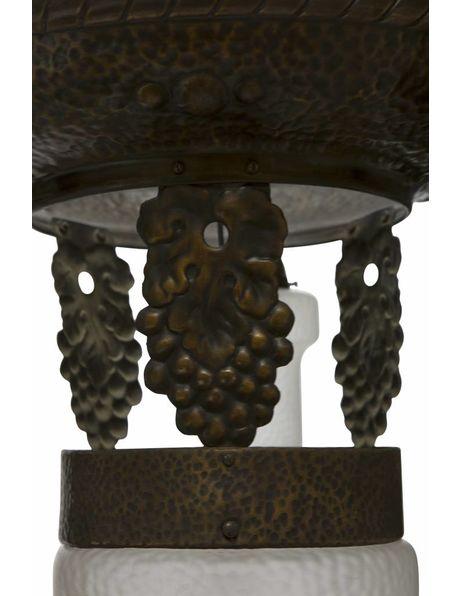 Klassieke Hanglamp , koper met matglas, ca. 1930