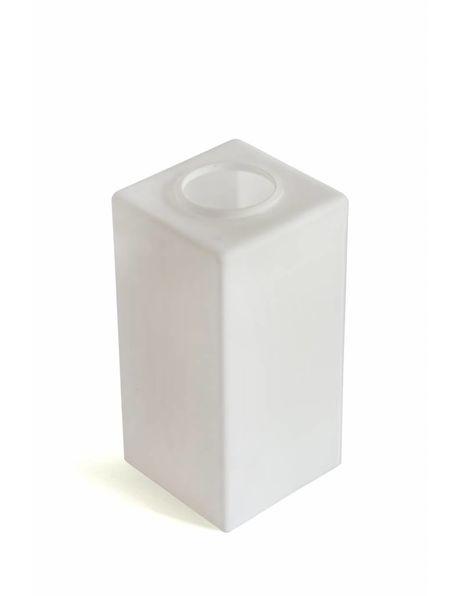 Vierkante glazen lampenkap, wit, jaren 70