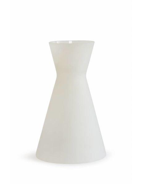 Melk-wit glazen lampenkapje, Diabolo vorm, uit ongeveer 1950