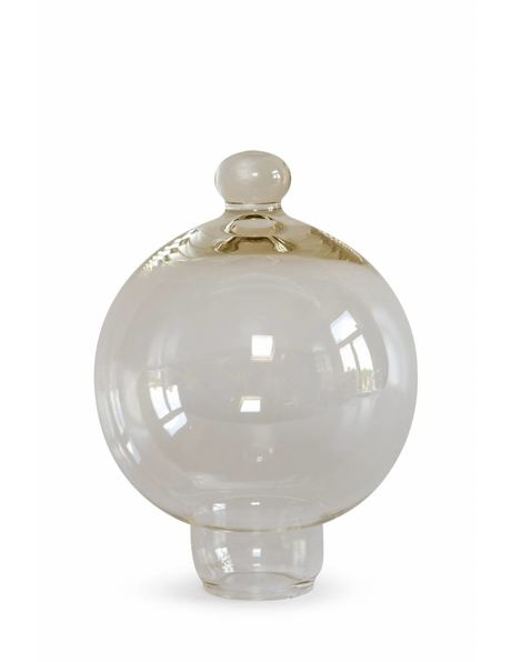 Lampenkapje, helder glas met knop op bovenkant, ca. 1970