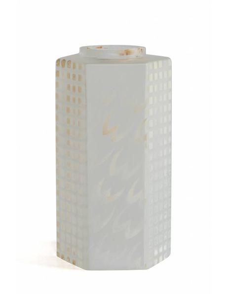 Cilindervormig lampenkapje van matglas met 6 afgeplatte kanten, ca. 1960