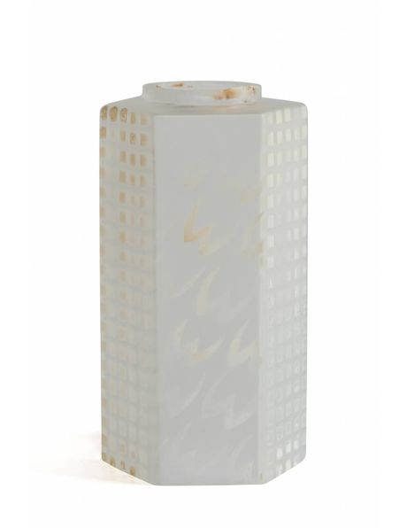 Cylindrical lampshade of frosted glass with 6 flattened sides, 1960s