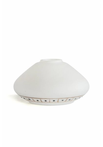 Milk-white Glass Lampshade, Gold with Black