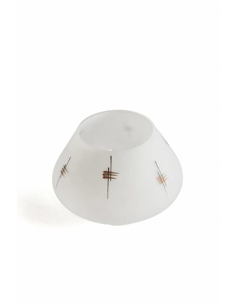 White lampshade, decorated with black and gold, from the 1970s