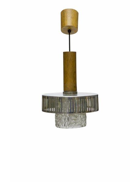 Vintage hanglamp, hout met glas, ca. 1950