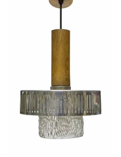 Vintage hanging lamp, wood with glass, 1950s