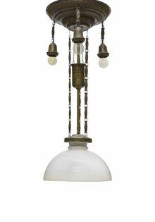 Antique Hanging Lamp, Copper Pull Pendant