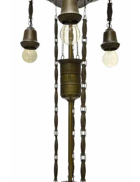 Klassieke hanglamp met grote witte kap, ca. 1930