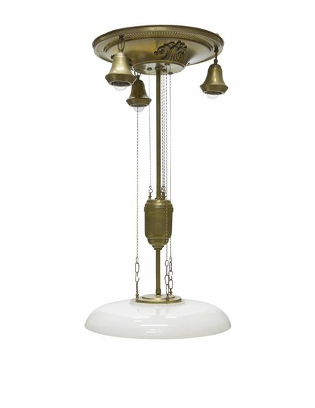 Classic pendant lamp with 4 light points and fixed pull pendulum, 1930s