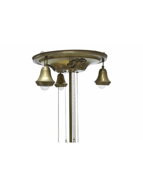 Klassieke hanglamp met 4 lichtpunten en gefixeerde trekpendel, jaren 30