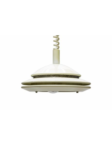 witte hanglamp, in hoogte verstelbaar, jaren 60