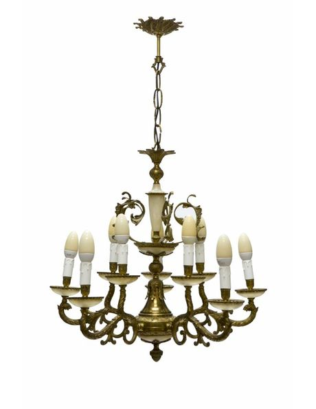 Large copper and alabaster chandelier with 10 candles from the 1930s