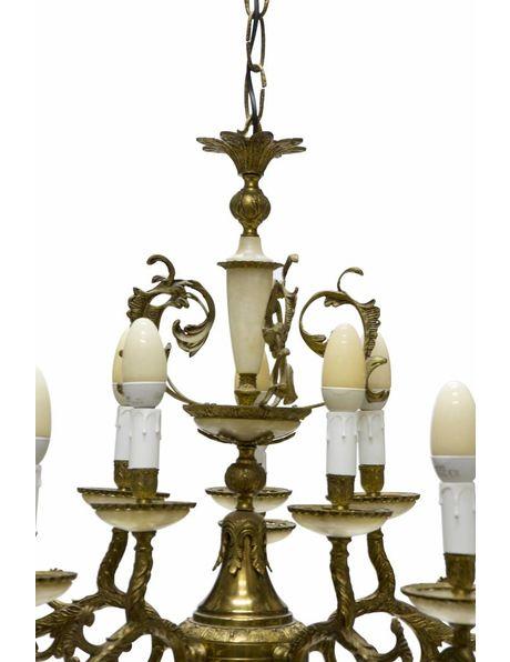 Grote kroonluchter van koper en albast met 10 kaarsen uit de jaren 30