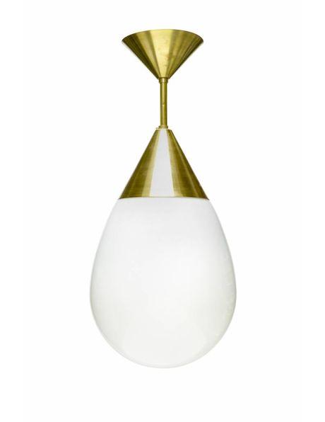 Glazen hanglamp, melkwit met mat gouden armatuur