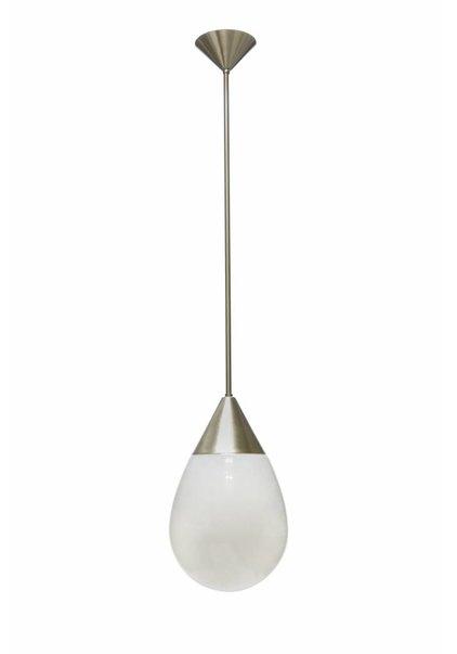 Pendant Lamp, White Glass on Chrome fixture