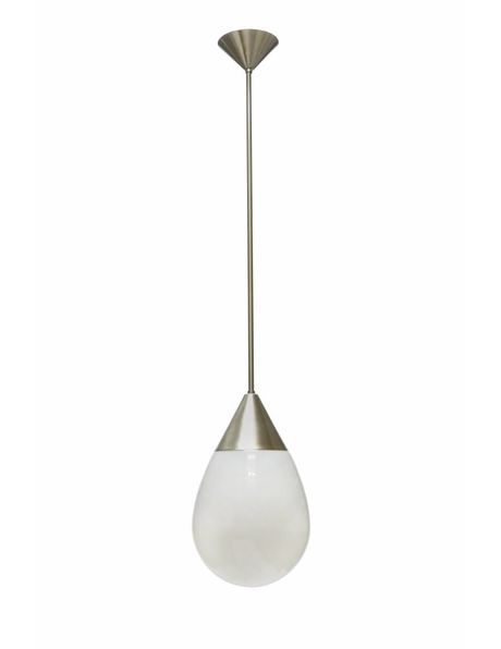 Glass hanging lamp, industrial style, white with silver