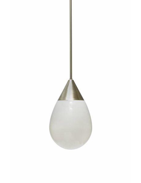 Glazen hanglamp, industrial style, wit met zilver