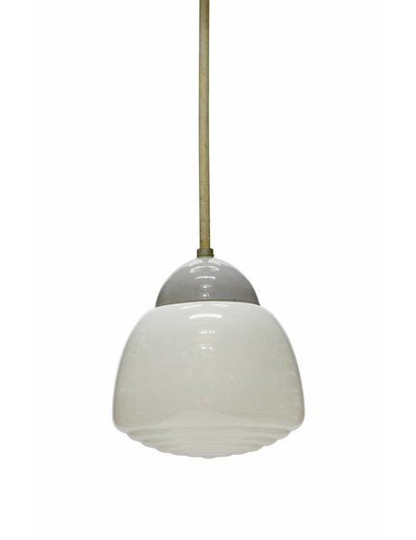Industrial pendant lamp with closed shade in the colours white, grey, 1940s.