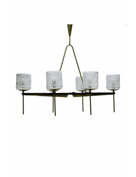 1950s hanging lamp, copper and black coloured fixture with small white glass shades
