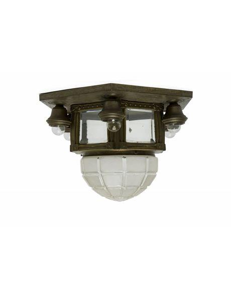 Antique Ceiling Lamp, Glass in Copper Fixture, 1920s