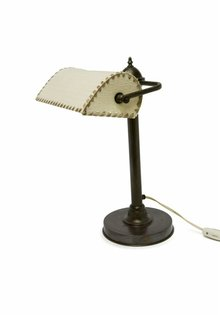Old Desk Lamp with Fabric Shade