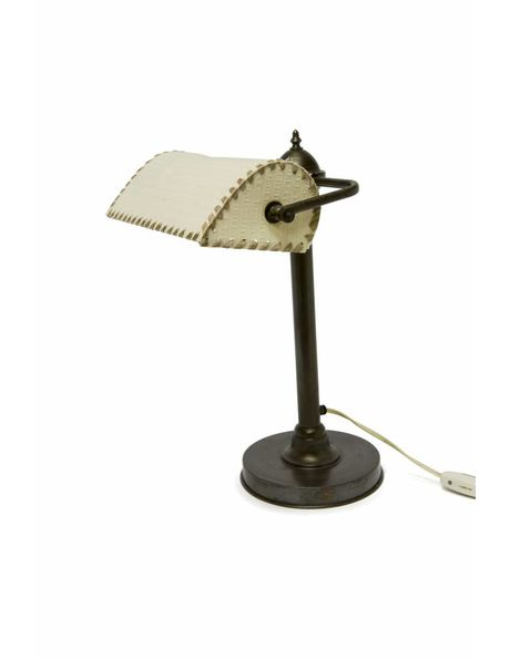 Copper desk lamp with fabric shade, 1940s