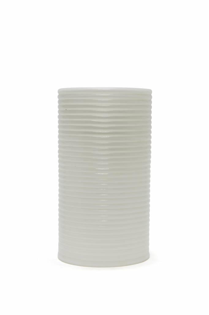 Extreem Cilindervormige witte lampenkap met ribbeltje - Lamplord LV92