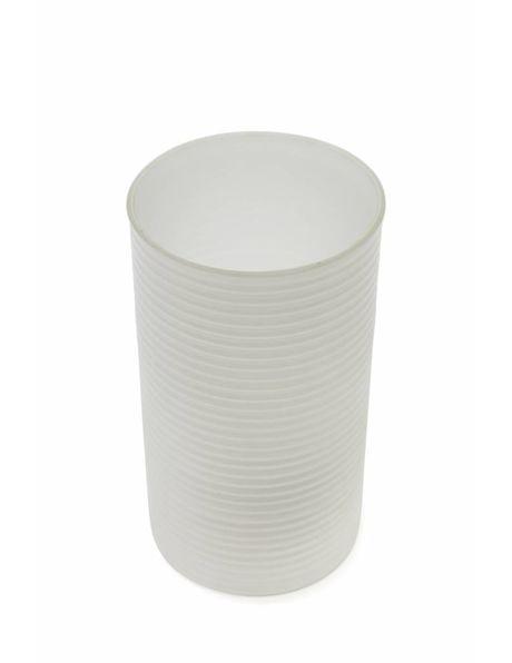 Cilindervormige glazen lampenkap met ribbeltje