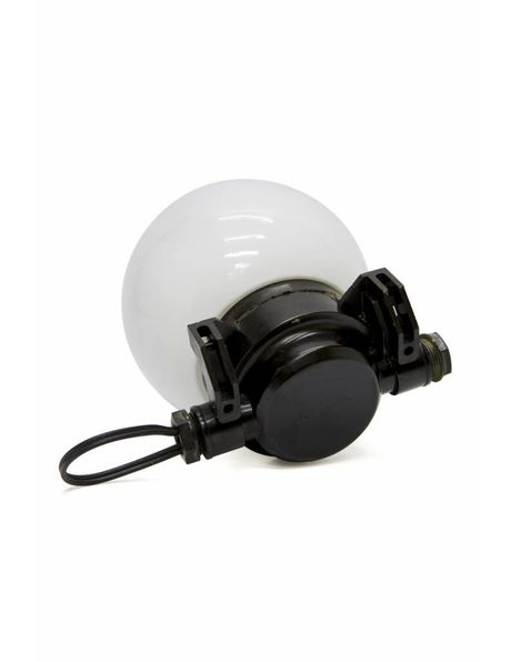 Industrial ceiling lamp with bakelite base and spherical glass shade, 1930s