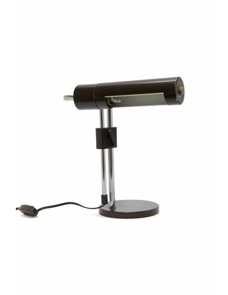 brown desk lamp, extendable fixture, 1970s