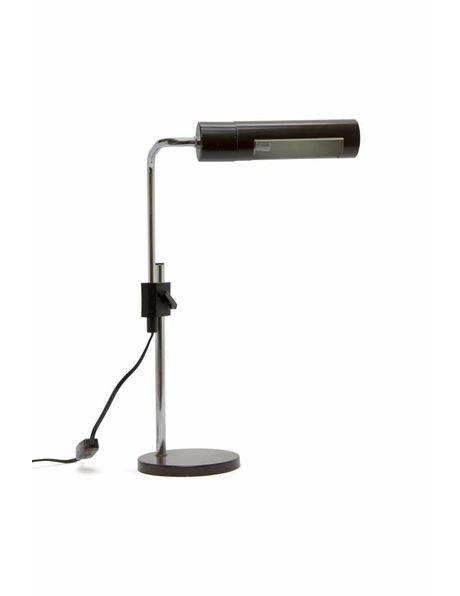 bruine bureaulamp, uitschuifbaar armatuur, ca. 1970