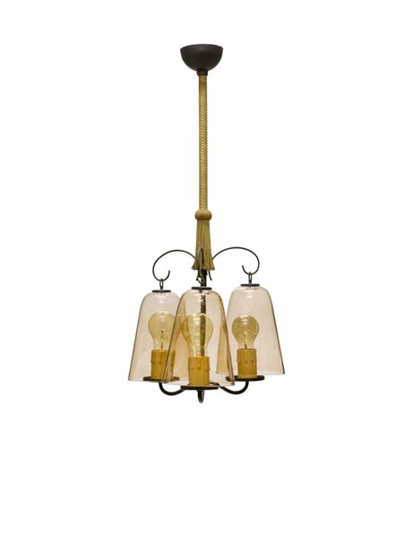 Vintage hanging lamp with 3 light points and light brown tinted glass from the 50s