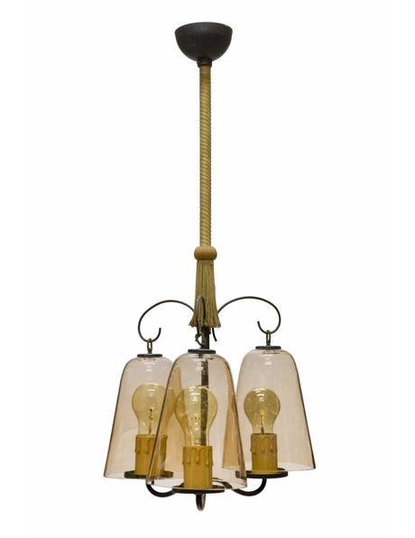 Vintage Hanglamp met 3 lichtpunten en licht bruin getint glas uit jaren 50