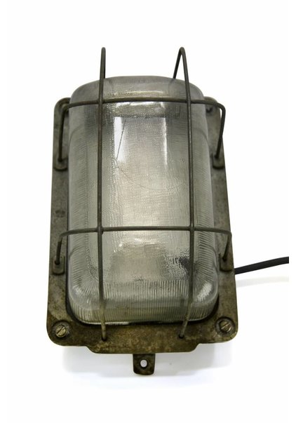 Wall lamp, Industrial, Cage, Metal and Glass