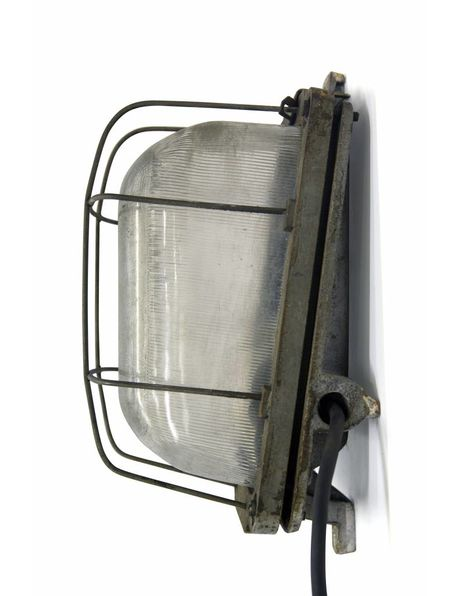 Wall lamp / cage lamp, industrial model, large and coarse model of metal and iron, 1950s