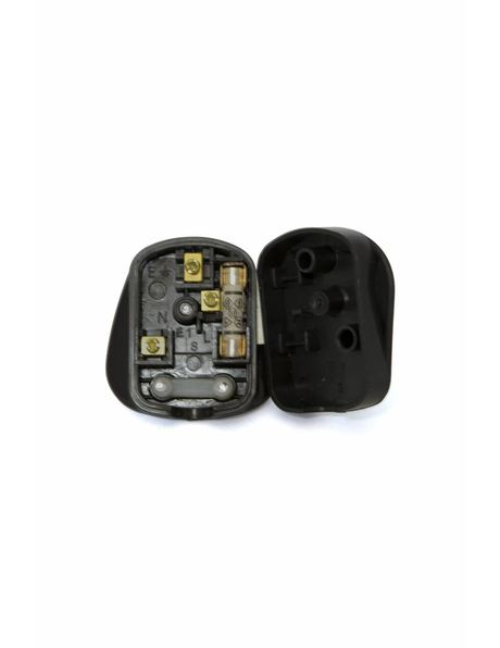Power plug, model: Brisish Standard, material: black plastic